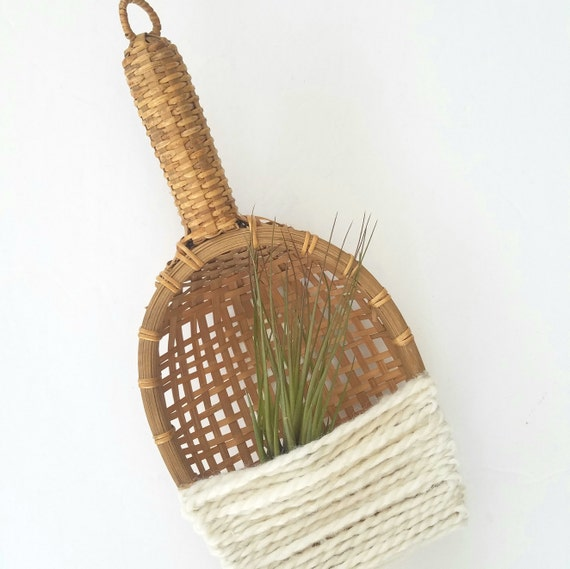 Cool Vintage Wicker Fiber Airplant Holder (airplant not included)