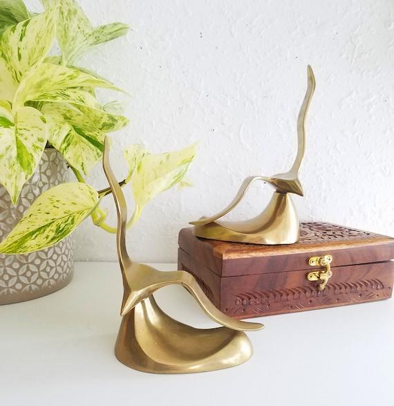 Set of 2 Vintage Brass Seagulls Bookends
