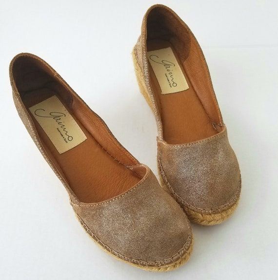 Vintage Gaino Brown Leather Closed Toe Espadrille Shoe