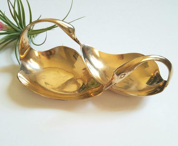 Brass Vintage Double Swan Serving Dish