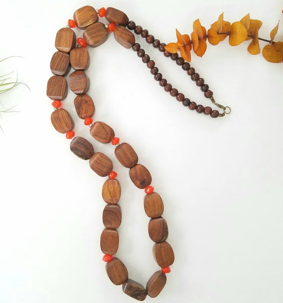 Extra Long Wood Bead Necklace