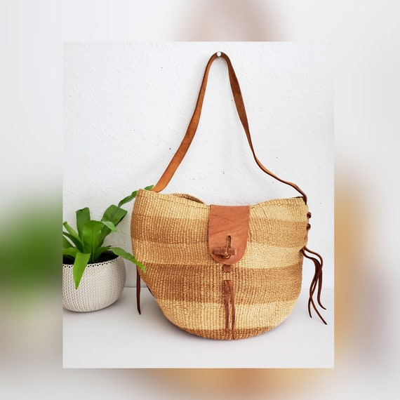 Vintage Sisal and Leather Market Bag