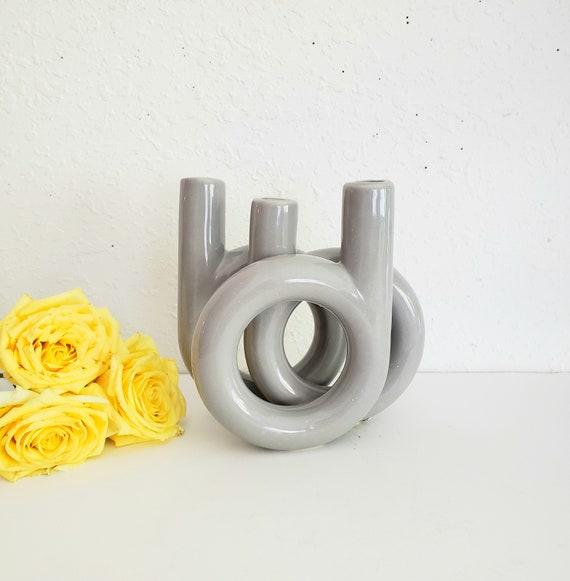 Vintage Gray 3 Hole Bud Vase