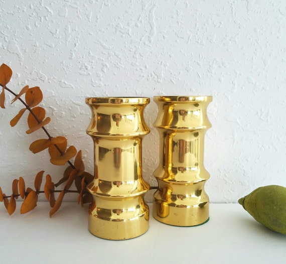 Vintage Short Brass Candlestick Holders