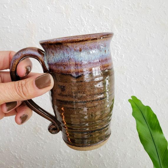 Vintage Studio Pottery Mug Brown with Purple/Blue Glaze
