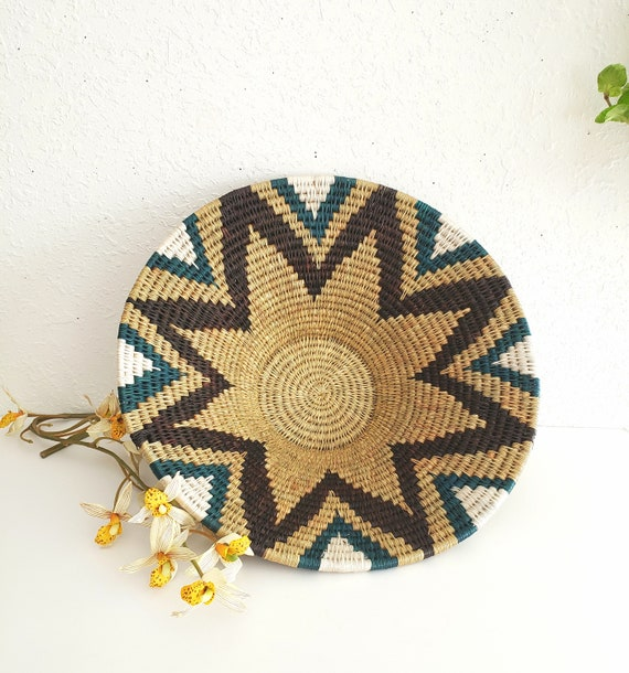 Large Colorful Round Wicker Basket