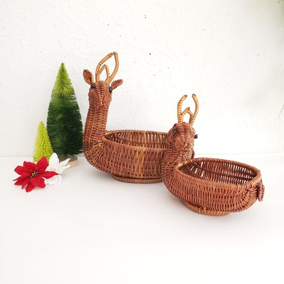 Set of 2 Wicker Reindeer