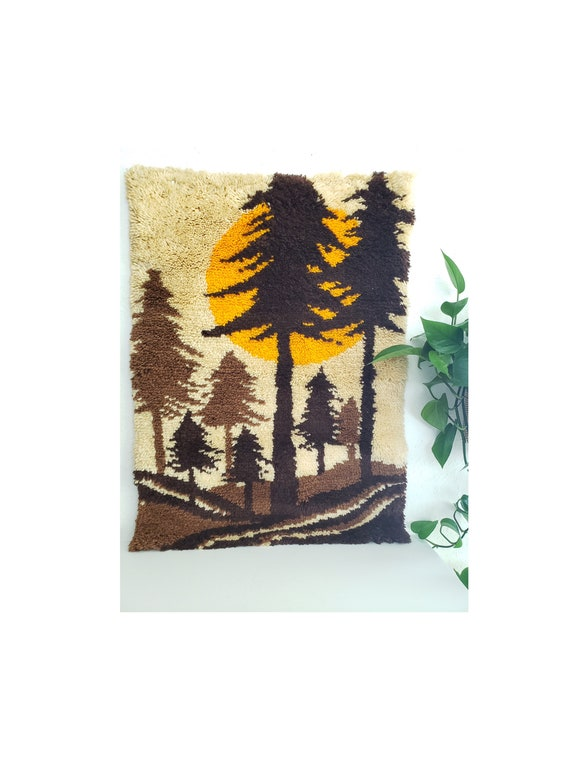 Vintage Forest Scene Latch Hook Wall Hanging