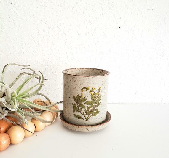 Ceramic Small Decorative Planter with Herb Design