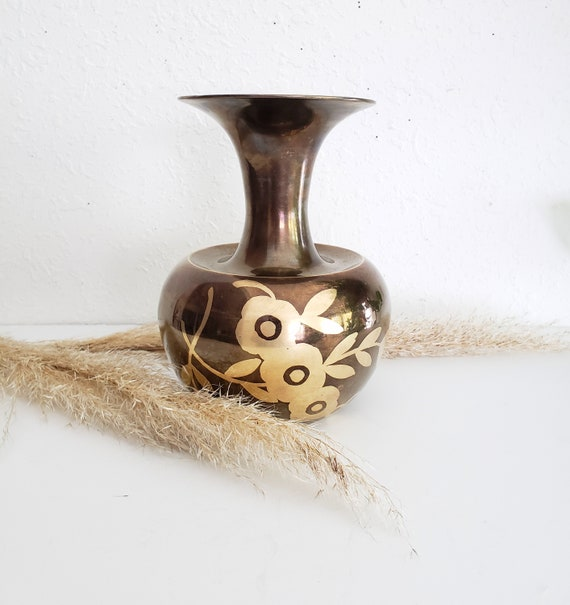 Vintage Brown Brass Etched Flowers Vase