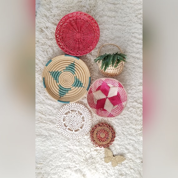Colorful Vintage Set of 7 Basket Wall Hangings