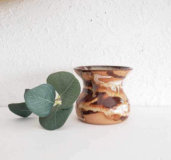 Vintage Brown Swirl Studio Pottery Vase