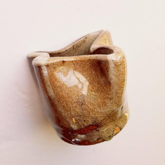 Handmade Small Brown Crazy Shaped Jar