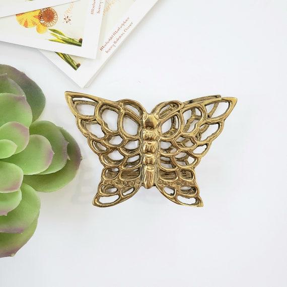 Vintage Brass Butterfly Napkin Holder/ Letter Holder