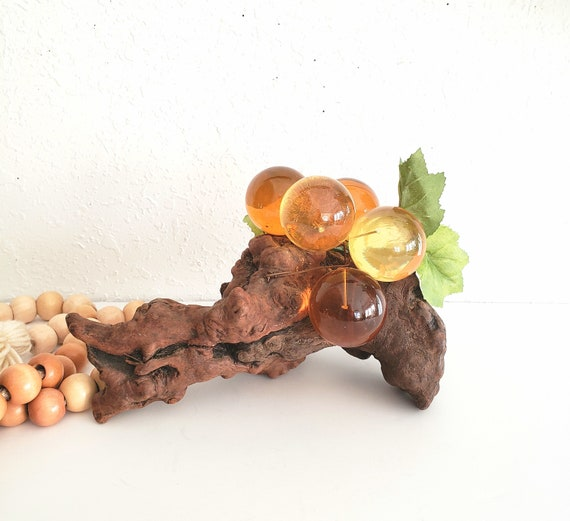 Vintage Amber Lucute Round Grapes on Wood