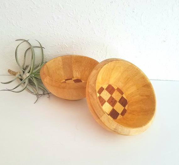 Set of 2 Vintage Dansk Wood Bowls with Checkered Bottom