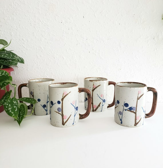 Set of 4 Vintage Asian Inspired Style Mugs/ Teacups