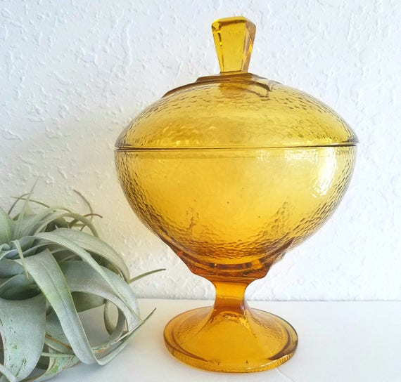 Vintage Amber MCM Glass Candy Dish