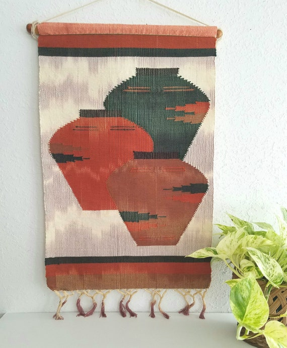 Vintage Southwestern Wall Tapestry with Clay Pots