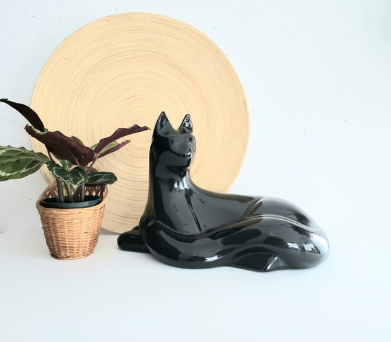 Sleek Black Mid Century Modern Seated Cat