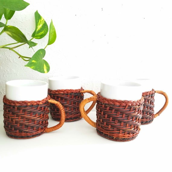 Wicker and Ceramic Set of 4 Vintage Mugs
