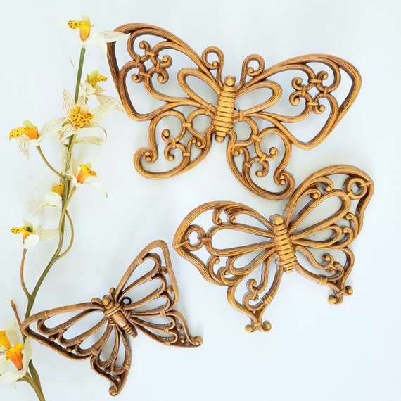 Vintage Set of 3 Homco Retro Butterflies