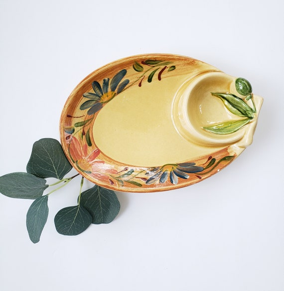 Vintage Italian Olive and Pits Serving Dish