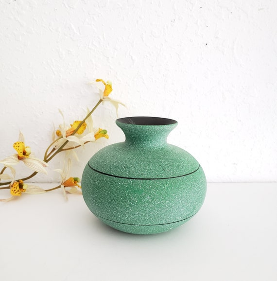 Vintage Green and Black Small Vase
