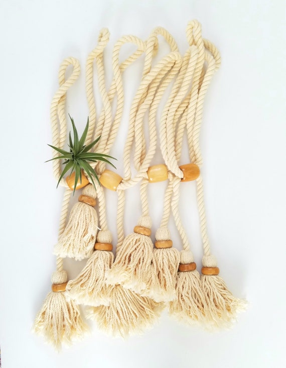 Cotton Set of 4 Vintage Curtain Tiebacks with Tassels