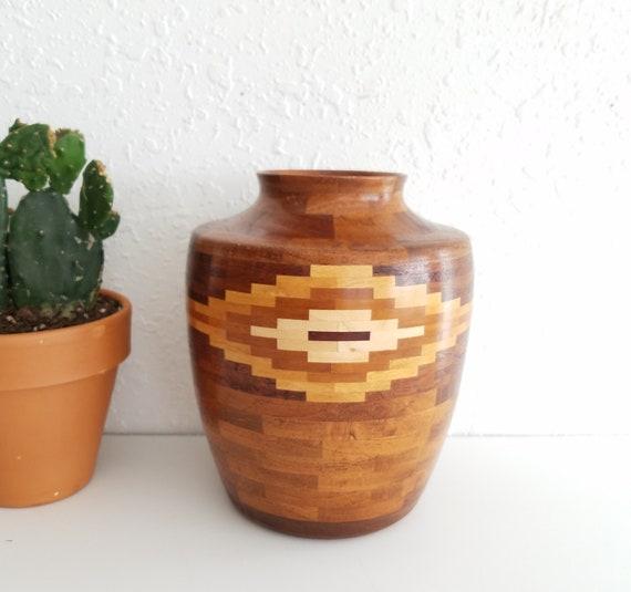 Beautiful Multi Inlay Wood Vase