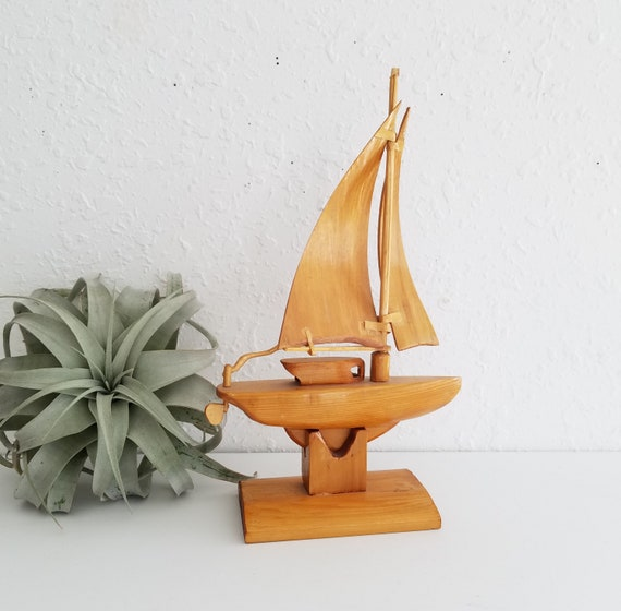 Vintage Wood Carved Sailboat