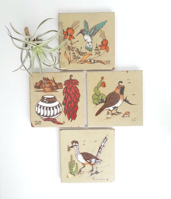 Set of 4 Vintage  Cleo Teissedre Southwestern Tile Trivets/Wall Hangings