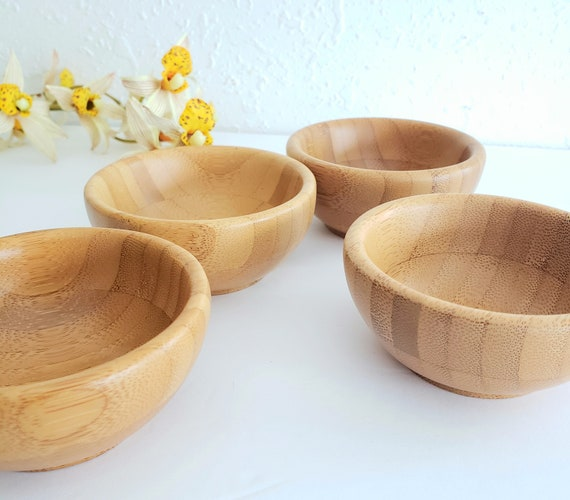 Set of 4 Brown Mini Wood Bowls