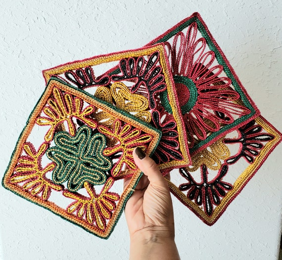 Set of 4 Colorful Vintage Trivets