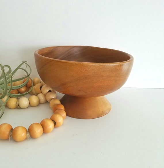 Vintage Wood Carved Pedestal Bowl