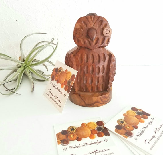 Vintage Wood Carved Owl Business Card Holder