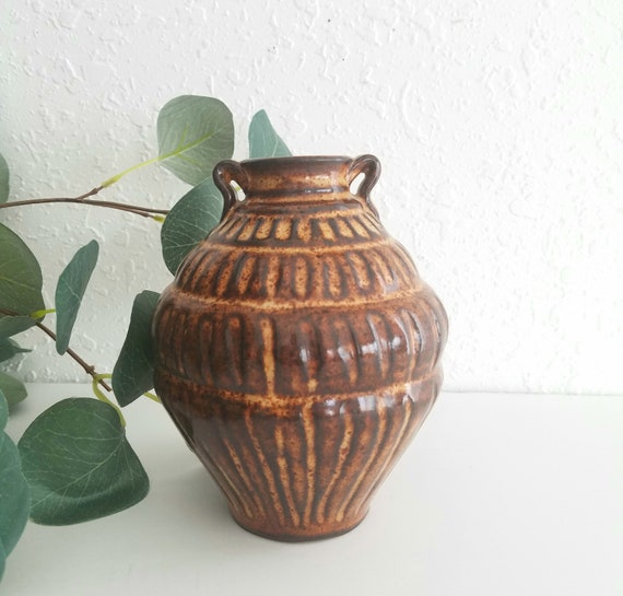 Small Ceramic Brown Lined Vase