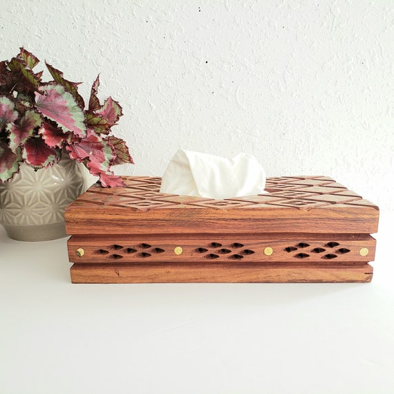 Vintage Ornate Carved Tissue Box