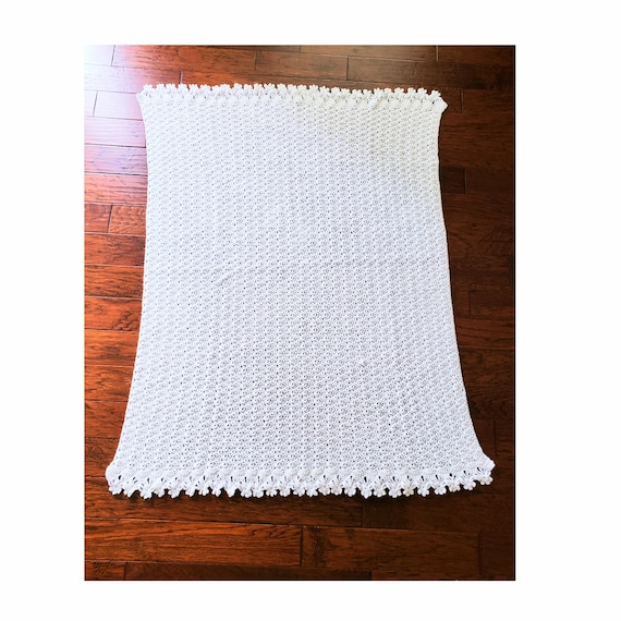 Vintage Handmade Off White Blanket with Floral Trim