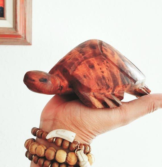 Vintage Wood Handcarved Turtle Figurine