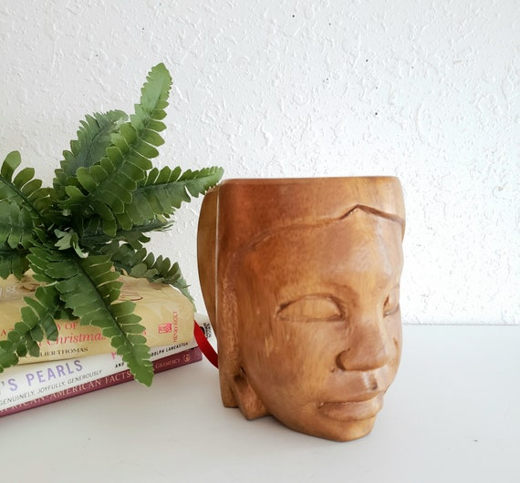 Wood Carved Face Vintage Mug