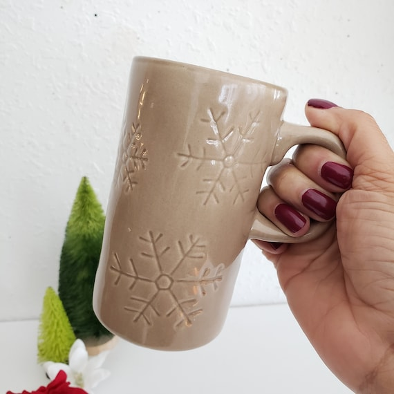 Brown Tall Ceramic Holiday Snowflake Mug