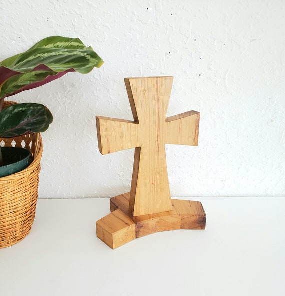 Solid Handcarved Wood Standing Cross