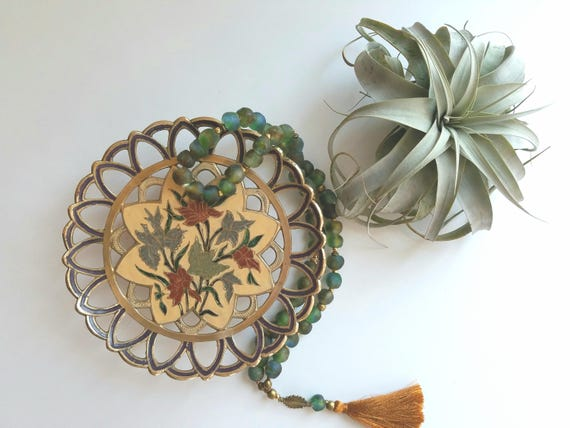 Vintage Painted Brass Floral Dish