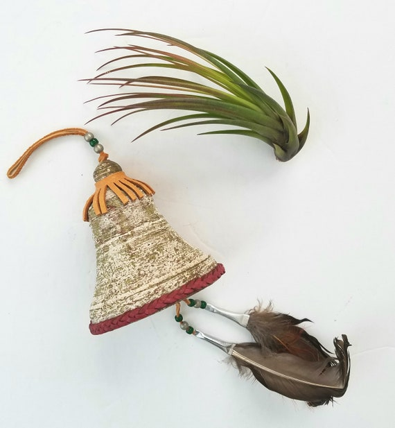 Southwestern Ceramic Bell with Feathers