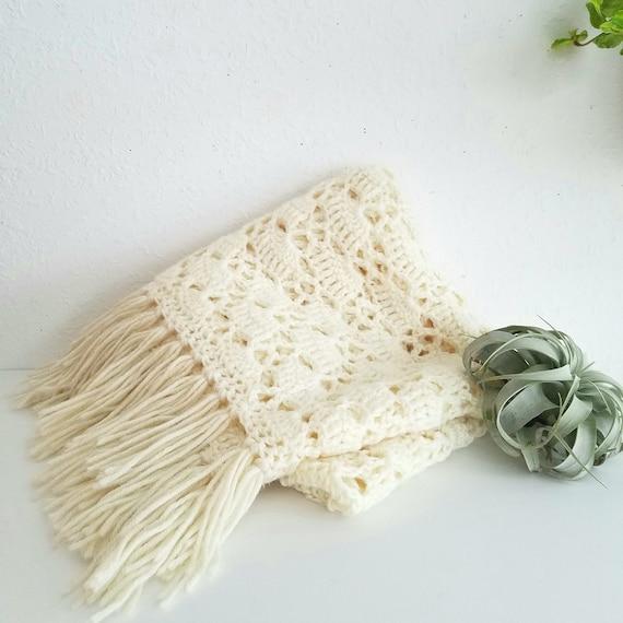 Vintage Handmade Blanket with Fringe