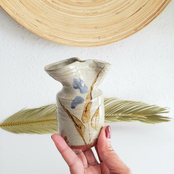 Small Studio Crazy Neck Pottery Bud Vase