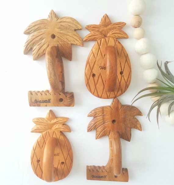Vintage Handcarved Wood Pineapple and Palm Trees Handles