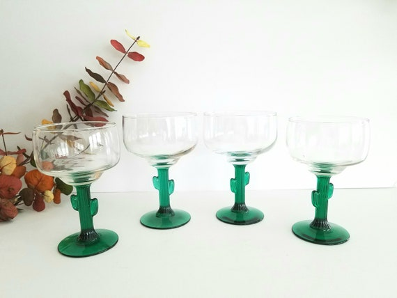Vintage Green Margarita Glasses with Cactus Stems