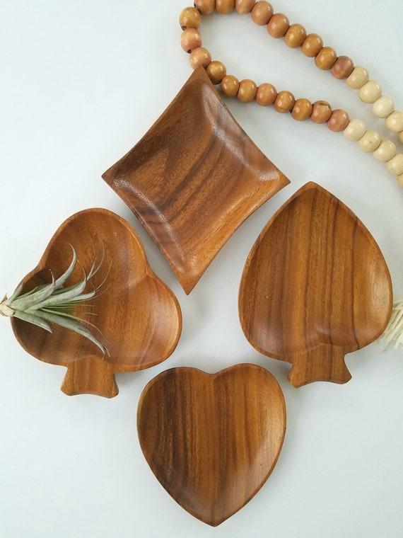 Set of 4 Wood Vintage Card Suite Shape Dishes